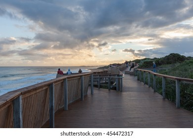 Warrnambool, Australia - Jul 8 2016:  Whale viewing platform at sunset, Logans, Beach, Warrnambool, Victoria, Australia