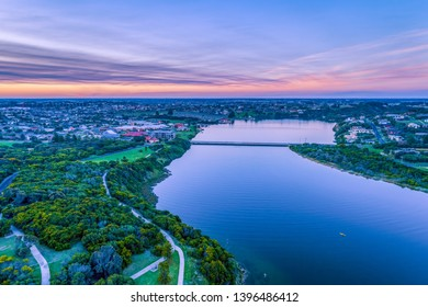 Warrnambool and Hopkins River at dusk - aerial landscape