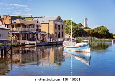 WARRNAMBOOL, VICTORIA, AUSTRALIA - APRIL 16TH 2019: Flagstaff Hill Maritime Museum, the recreated 19th century marina with lighthouse, sail maker and inn