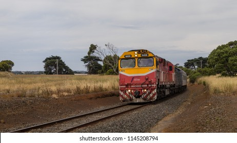 Warrnambool, Victoria, Australia - December 23 2017: The train from Melbourne is approaching Warrnambool Station. The railway stretch was formerly known as  Port Fairy railway line.