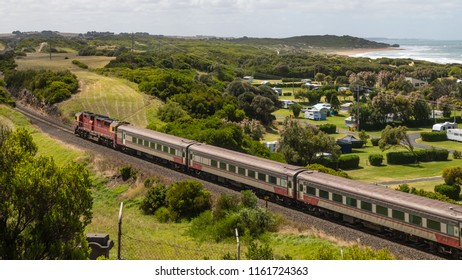 Warrnambool, Victoria, Australia - December 24 2017: A train on its way to Melbourne