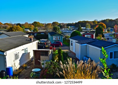 Warsash, Hampshire / England-11/17/2017 :Prefabricated residential chalet homes at Dibles Park near Warsash. A community of 46 residential homes and there is also space for a few touring caravans/RVs.
