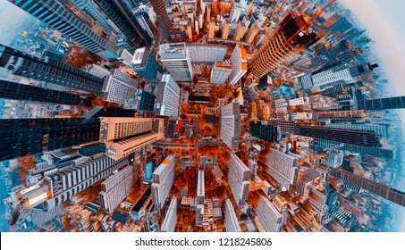 Warsaw aerial at night