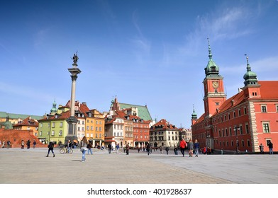 WARSAW - APR 03: The main square of the old town in Warsaw on April 03. 2016 in Poland