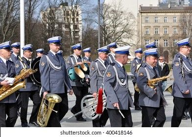WARSAW - APR 03: Military orchestra at  the main square in Warsaw on April 03. 2016 in Poland