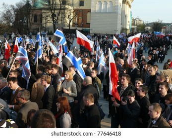 WARSAW - APRIL 16: March of protest on April 16, 2011 in Warsaw, Poland. Conservatives supporting Janusz Korwin Mikke gathered to protest against tax increase & policy of current government.