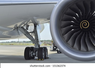 WARSAW - AUGUST 4: Landing gear and engine of the Boeing 787 Dreamliner, while parked at Chopin Airport on August 4, 2013 in Warsaw, Poland.