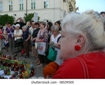 WARSAW - AUGUST 5: gathering near Presidential Palace on August 5, 2010 in Warsaw, Poland. Authorities failed to move cross from the presidential palace after fierce protests by Roman Catholic groups
