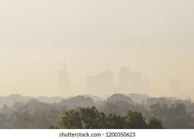 Warsaw, the capital of Poland covered in smog and fog