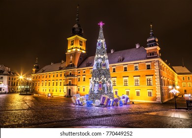 Warsaw, Castle Square during the Christmas holidays at night, Poland