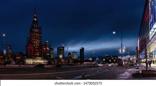 Warsaw - Circa 2018. Night Warsaw street, PKiN center