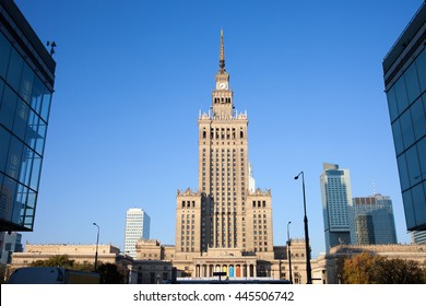 WARSAW - CIRCA OCTOBER 2013 - Palace of Culture and Science, city landmark in Warsaw, Poland