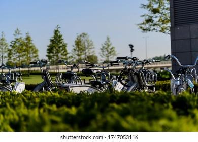Warsaw. City bicycles parking hub at Vistula river bank.