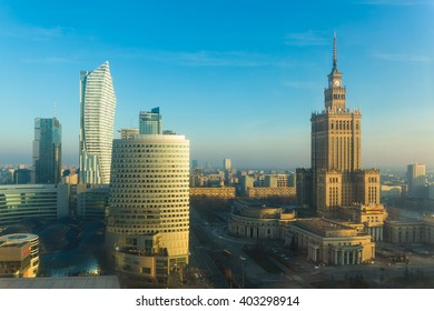 Warsaw city center skyline with skyscrapers, Warsaw, Poland