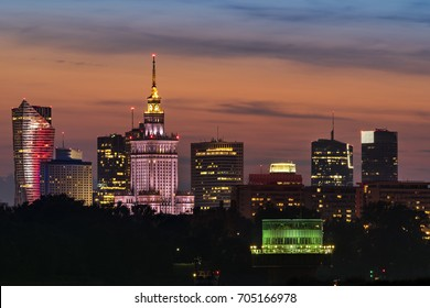 Warsaw city downtown night view during summer time.