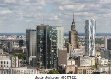 Warsaw city downtown panorama during sunny day, Poland