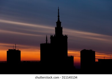Warsaw city downtown skyline at sunset in Poland