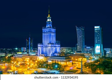 Warsaw city at night, Poland