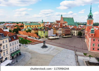 Warsaw City in a Sunny Day - Aerial View of Old Town - No People - Empty Square