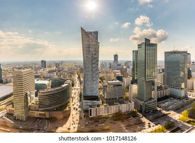 Warsaw downtown aerial view of modern buildings. Panoramic view of Warsaw, capital city of Poland, on a sunny day. Architecture and travel concepts.