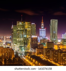 Warsaw downtown at night, Poland - Shutterstock ID 161076158