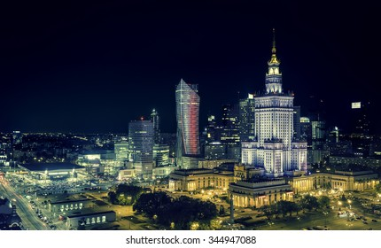 Warsaw Downtown at night, Poland - Shutterstock ID 344947088