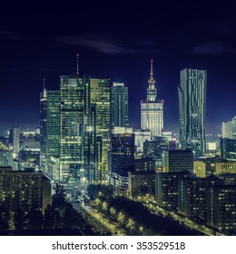 Warsaw downtown at night, Poland - Shutterstock ID 353529518