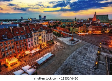 Warsaw in The Evening Time with a beautiful Sunset