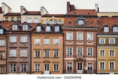 Warsaw facades at Old town market square.
