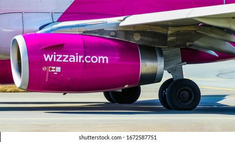 Warsaw, Frederic Chopin Warszawa Intl Airport (EPWA) / Poland - 30.03.2018: Wizz Air A320 Jet Engine