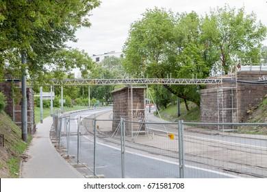 WARSAW - JULY 4: Renovation of railway bridge over obozowa street on July 4, 2017 in Warsaw