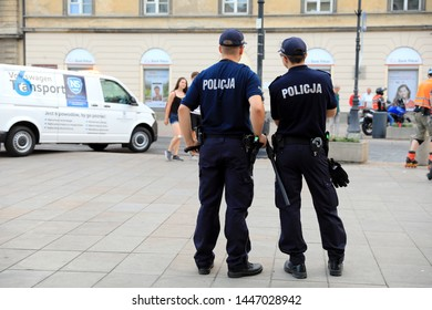 WARSAW - JUN 13: Warsaw police control the street in Warsaw the 13 June 2019, Poland. Warsaw is one of the most populated metropolitanareas in Europe