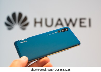 WARSAW, MARCH 2018 - Newly launched Huawei P20 Pro smarpthone is displayed for editorial purposes