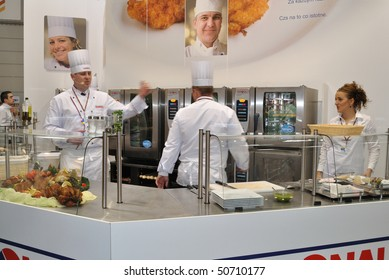 WARSAW - MARCH 26: Cooks at work - 14th International Food Service Trade Fair. March 26, 2010 in Warsaw, Poland.