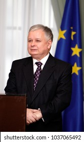Warsaw, Masovia / Poland - 2006/12/18: Lech Kaczynski - president of Poland and one of leaders of the Law and Justice party PiS - during a Christmas press meeting in the President's Palace