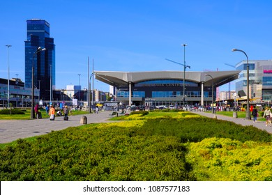 Warsaw, Masovia / Poland - 2018/04/22: Warsaw Central railway station and modern skyscrapers in Warsaw city center at Jerozolimskie Avenue