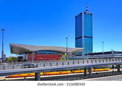 Warsaw, Masovia / Poland - 2018/06/08: Panoramic view of city center with Marriott Hotel tower and Central Railway Station at Aleje Jrozolimskie street