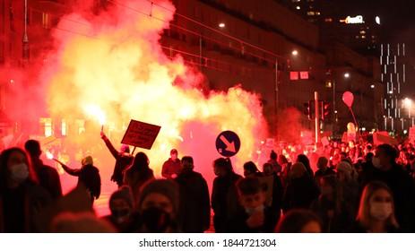"""""""Warsaw, Masovian, Poland - 29.01.2021: Polish women's strike, 29.01, Strajk Kobiet, wyrok trybunału konstytucyjnego Julii Przyłębskiej"""""""