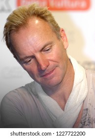 Warsaw, Mazovia / Poland - 2005/09/24: Sting - Gordon Sumner, British singer, musician, composer and vocalist - leader of The Police music band in a press meeting