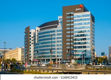 Warsaw, Mazovia / Poland - 2018/08/30: International Business Center building - polish headquarter of the PricewaterhouseCoopers PwC consulting firm downtown Warsaw