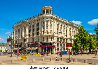 Warsaw, Mazovia / Poland - 2019/06/01: Front view of the historic Bristol hotel building at the Krakowskie Przedmiescie street in the Old Town quarter of Warsaw