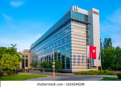 Warsaw, Mazovia / Poland - 2019/06/06: Panoramic view of the Warsaw University Management Faculty building at Szturmowa street in the Sluzew district of Warsaw, Poland