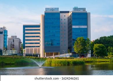 Warsaw, Mazovia / Poland - 2019/06/06: Panoramic view of University Business Center office center at Szturmowa street in the Sluzew district of Warsaw, Poland - Hewlett-Packard headquarter in Poland