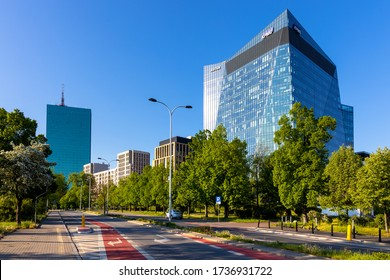 Warsaw, Mazovia / Poland - 2020/05/10: Panoramic view of Gdanski Business Center commercial quarter in northern Srodmiescie district of Warsaw with Intraco tower in background