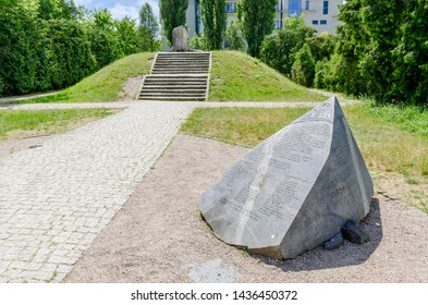 WARSAW, MAZOVIAN PROVINCE / POLAND - JUNE 23, 2019: Anielewicz Mound - memorial to the Jewish Combat Organization command, dead in a shelter at 18, Mila street during the Warsaw Ghetto Uprising.