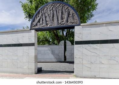 WARSAW, MAZOVIAN PROVINCE / POLAND - JUNE 23, 2019: Umschlagplatz of the Warsaw Ghetto memorial.