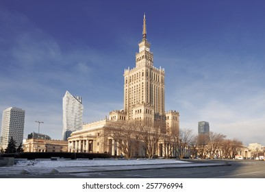Warsaw most famous landmark - Palace of Culture and Science in city center, Poland