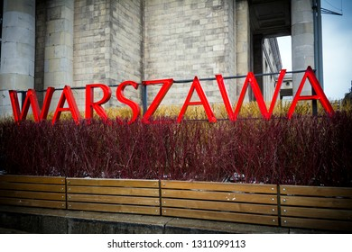 Warsaw neon sign in the centre of the Polish capital