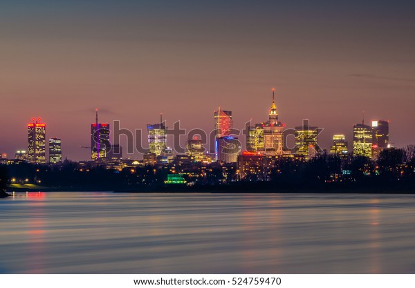 Warsaw Night View City River View Stock Image Download Now