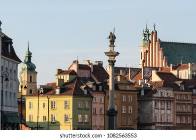 Warsaw old town by Zamkowy square with the cathedral in Poland capital city on a sunny day